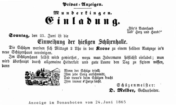 Anzeige des Donauboten über eine Einladung zur Einweihung der Schützenhalle am 24. Juni 1865