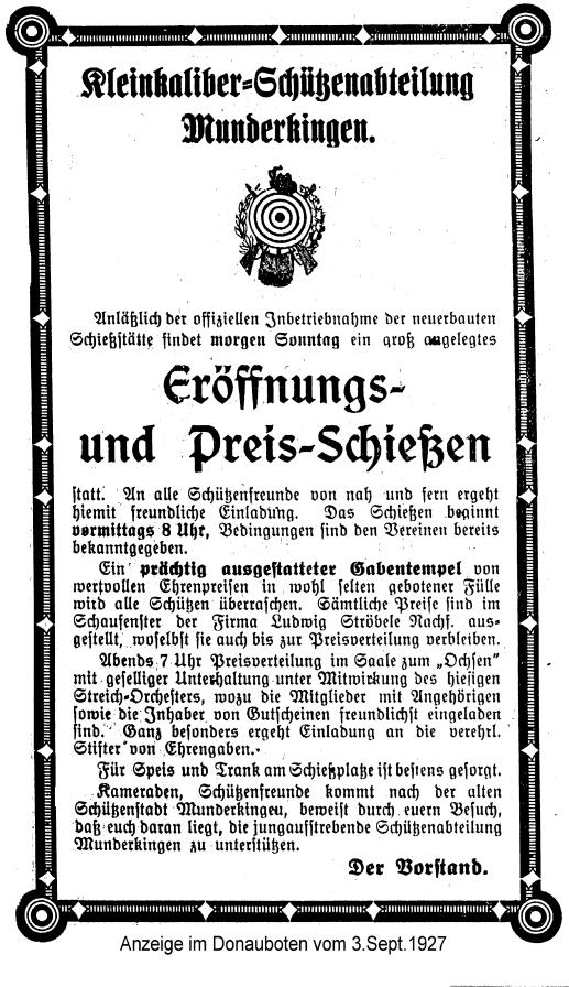 Anzeige des Donauboten über eine Einladung zur Eröffnung und Preisschießen der Kleinkaliber-Schützenabteilung Munderkingen am 3. September 1927