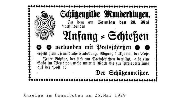 Anzeige des Donauboten am 25. Mai 1929 über eine Einladung der Schützengilde Munderkingen zum Preisschießen