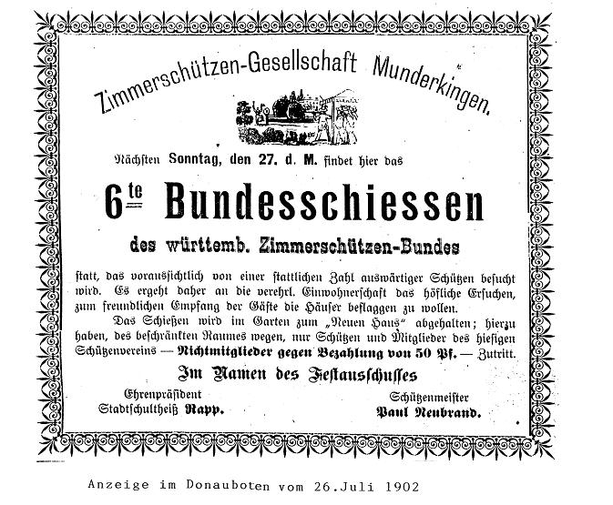 Anzeige des Donauboten am 26. Juli 1902 über das 6. Bundesschießen der Zimmerschützen-Gesellschaft Munderkingen